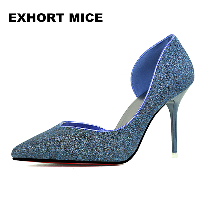 2017 Women Pumps Fashion Sexy High Heels Shoes Women Pointed Toe Thin Heel Ladies Wedding Spring/Autumn Hollow Sequined Cloth купить