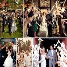 10 шт./лот, многоцветная Свадебная кружевная лента на палочке/сверкающие Волшебные волшебные палочки с колокольчиком, свадебные Ленточные палочки, вечерние украшения