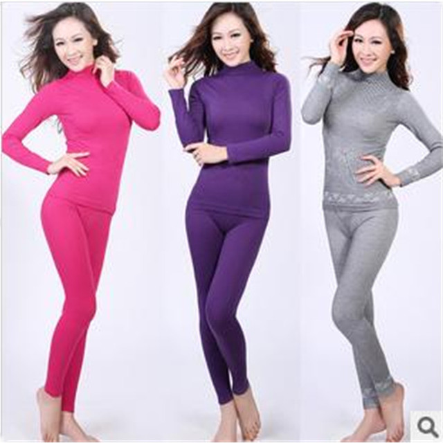 5bbbdb31bcf Sales Promotion ! Autumn Winter Women s Turtleneck Seamless Underwear Suits Women  Thermal Underwear Long Johns Sets H1