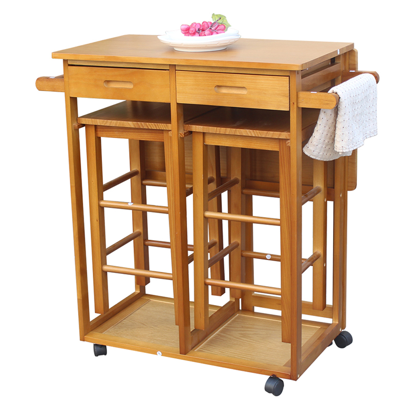 Kitchen Without Furniture: Simple Fashion Foldable Without Handle Dining Cart With