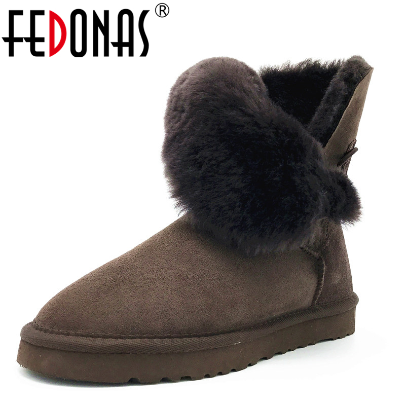 FEDONAS Women Boots 100% Sheepskin Mid-calf Warm Winter Snow Boots Sheep Fur Wool Boots Women Flats Genuine Leather Shoes Woman taoffen women genuine leather flats snow boots women metal buckle mid calf boots warm fur shoes for women footwears size 34 39
