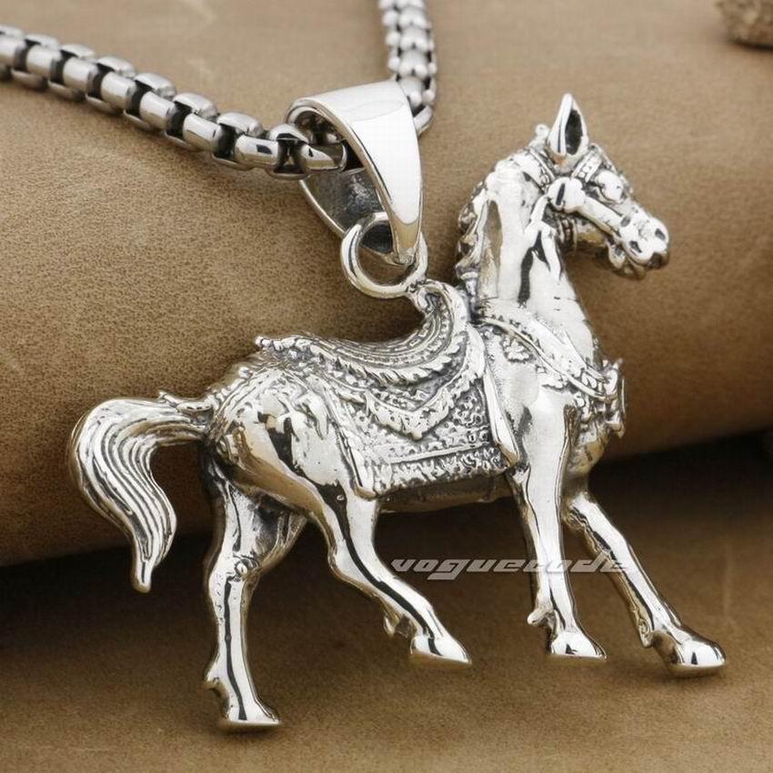 купить LINSION Walking Horse Pendant 925 Sterling Silver Mens Biker Rocker Punk Style 9F014 недорого