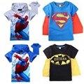 Новый 2014 мальчиков майка Супермен Бэтмен Дети 3D мультфильм короткий рукав детей футболки нова мальчиков одежда roupa infantil