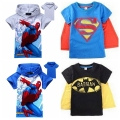 New 2014 baby boys t shirt Superman Batman Kids 3D cartoon short sleeves children t-shirt nova boys clothes roupa infantil