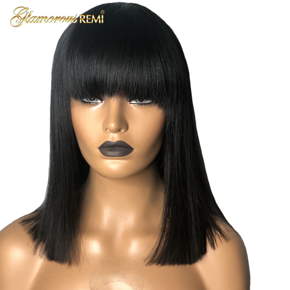 Short Bob Wig Brazilian Lace Frontal Human Hair Wigs Pre-Plucked Narural Color Bleached Knots Human Remy Hair Wig With Bangs 1b