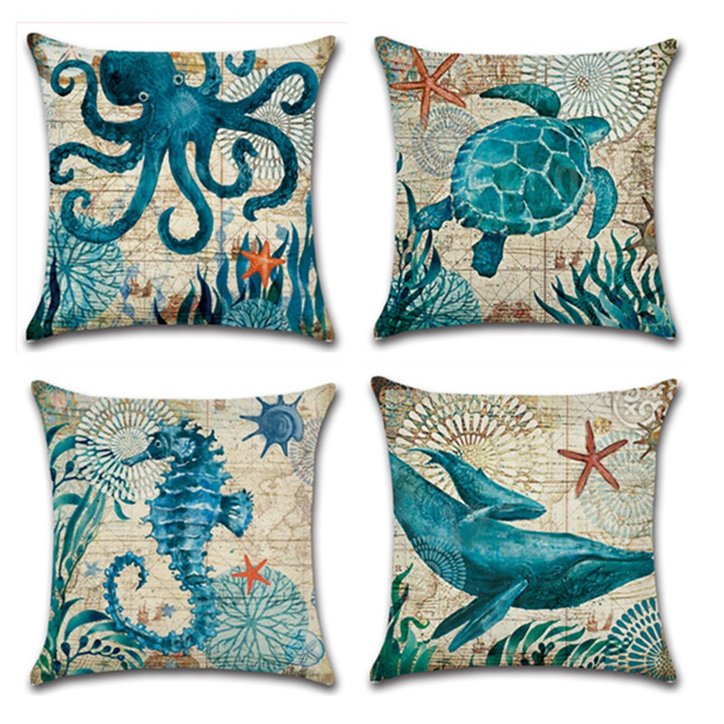 Creative Ocean Marine Style Mer Tortue Poulpe Modèles Carré Coton Lin Mer Cheval Canapé Throw Coussin Home Decor Oreillers