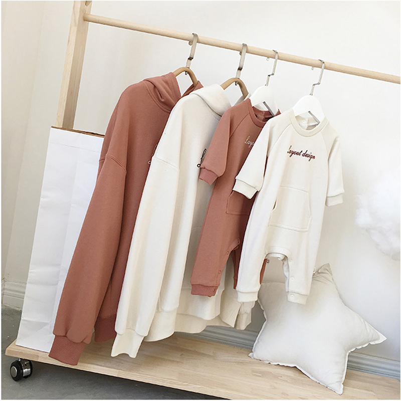 Household Matching Outfits Cute Dad Mother Son Daughter Hoodies Household Look Letter Print Hooded Stable Toddler Rompers Child Jumpsuits Matching Household Outfits, Low cost Matching Household Outfits, Household Matching...