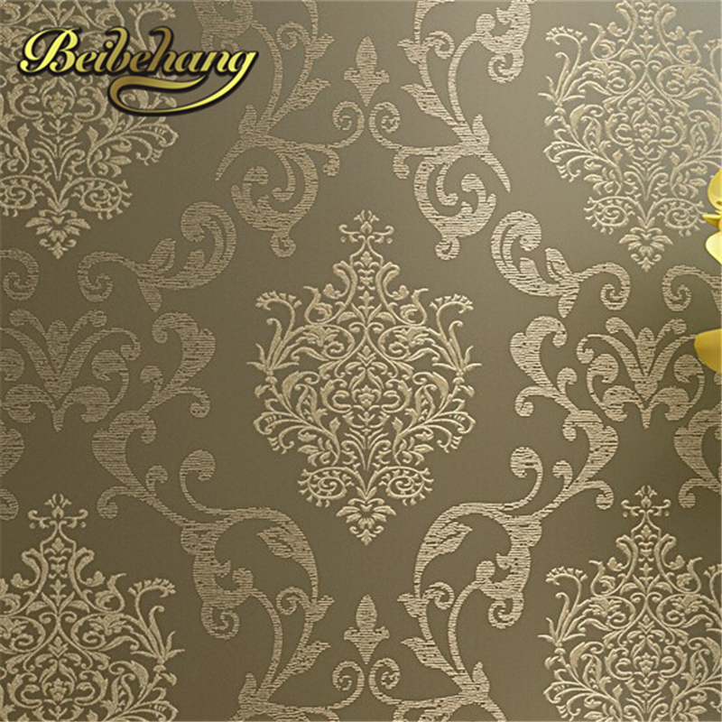 beibehang papel de parede. Non Woven Damask European Vintage Wallpaper wall Covering paper For Backdrop textured wall papers hom beibehang papel de parede 3d non woven embossed flocking wallpaperdesign damask wall paper classic home decoration wall covering
