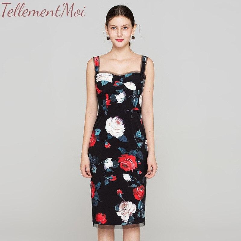 Robes moulantes femmes 50 S 60 S Vintage col carré robe imprimé Floral Spaghetti sangle robe maille Patchwork robes Vestidos