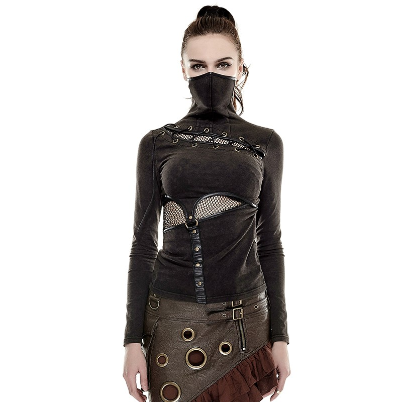 Steam Punk col haut femme serré maille T-shirts printemps café noir T-shirts à manches longues coton Tee hauts