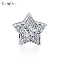 Beagloer Fashion 925 Sterling Silver Wishing Star Charm Beads Fit Handmade Bracelet Pendant Authentic Jewelry Gift PSMB0233