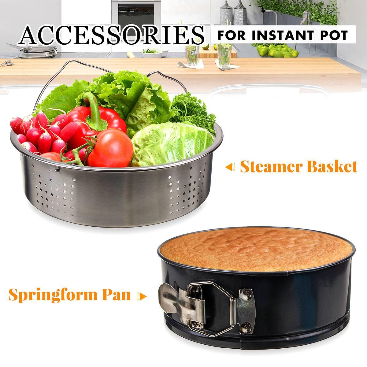 2 Pcs Instant Pot Accessories Stainless Steel Steamer Basket, Springform Pan Rice Cooker Pressure Cooker Kitchen Accessories Set