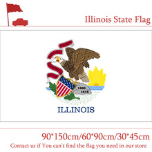 Free shipping 3x5ft Banner Brass Metal Holes 150*90cm 60*90cm Illinois State Flag 30*45cm Car For Vote Decoration