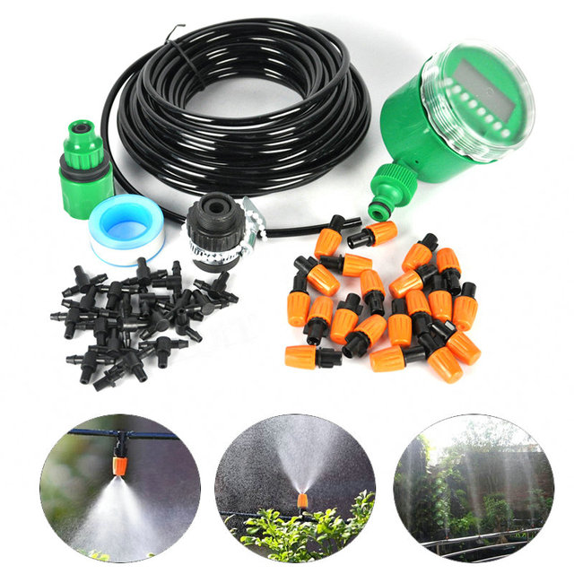 15M DIY Micro Drip Irrigation System Plant Self Automatic Watering Timer Garden Hose Kits With Adjustable Dripper