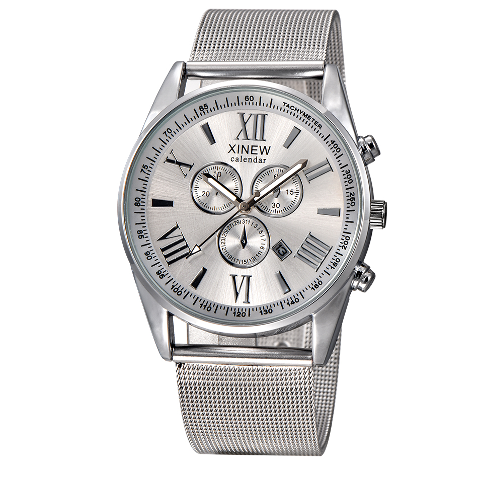 XINEW Brand Original Silver Stainless Steel Milan Mesh Band Fashion Watches Men Date Calendar Watch Casual Male Clock Relogio