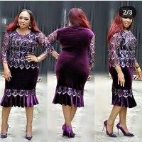 GuyuEra Africa Clothes New Bag Hip Skirt Stitching European and American Gold Velvet Tassel Sequin Dresses