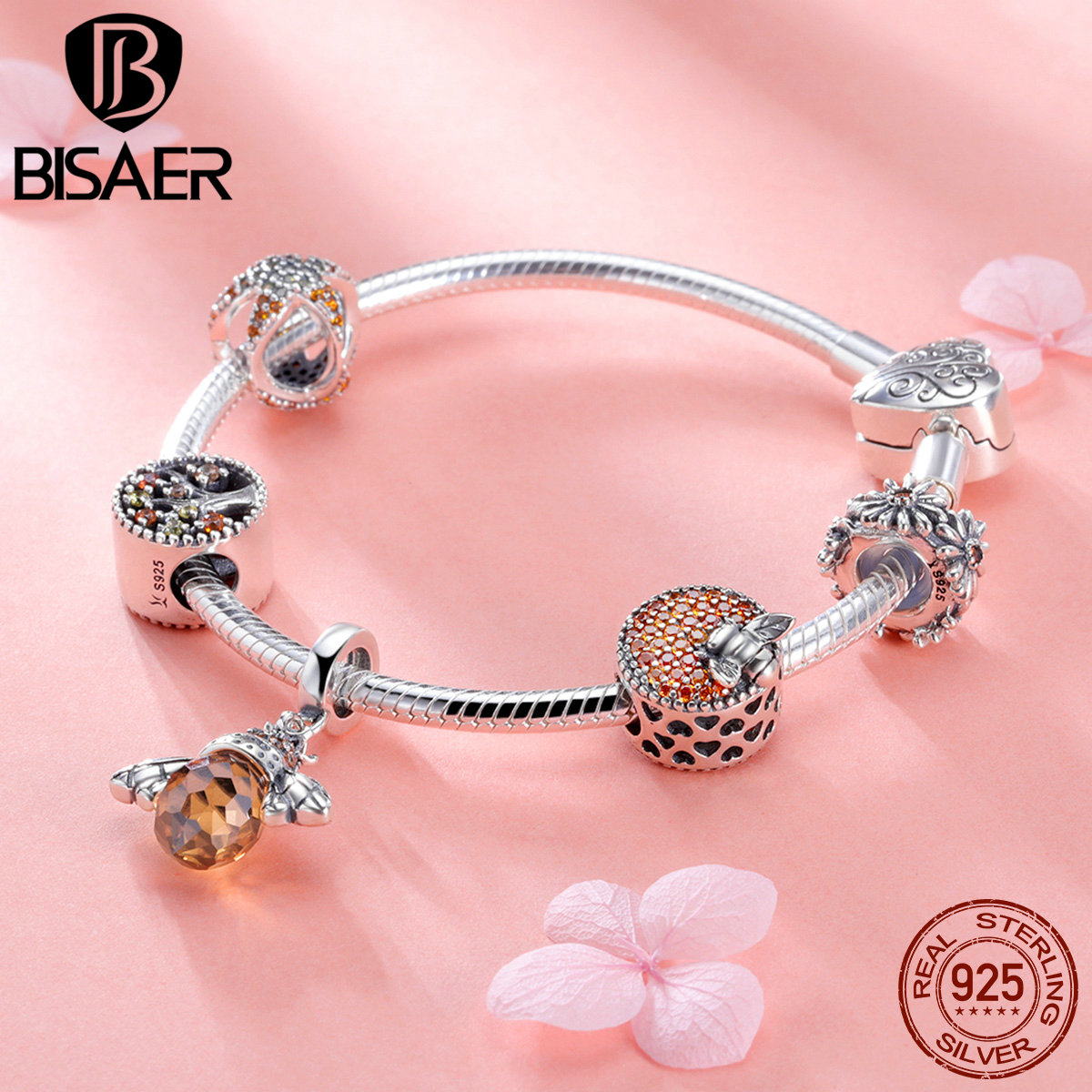 BISAER 925 Sterling Silver Bee Collection Insects CZ PAVE Bee Pendant Charm Bracelet for Women Original Brand Bangle GXB805 bisaer 7pcs 925 sterling silver heart key and locket heart pendant brand charm bracelet for women wedding silver bangle gxb811
