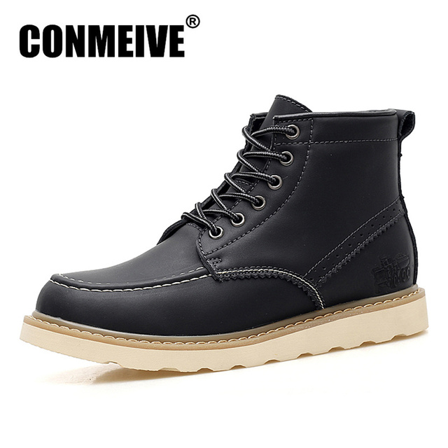 4ab91bb1e1ec4 Hot Sale Basic Boots Men Lace Up Brand Ankle Winter Genuine Leather Bota  Masculina Botas Hombre Casual Rubber Safety Shoes Mens