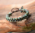 Men Bracelet Cool African Turquoise Beads Braided Cuff Bracelet Handmade Friendship Bracelets Mens Charm Bracelet Jewelry