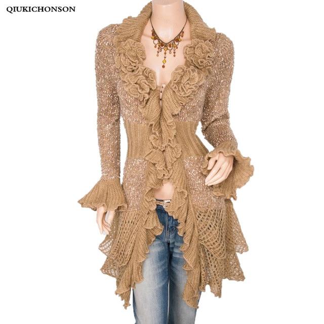 Rose pattern knitted sweater women 2018 autumn winter vintage korean ruffles flare sleeve mohair spliced irregular long cardigan