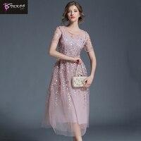 2018 New Arrival Women Embroidery Flower Casual Dress Summer Mesh Dress Pink Dresses Long Sexy Dress