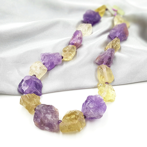 Image 4 - LiiJi Unique Real Amethysts Lemon quartzs Raw Stone Jades Toggle Clasp Huge Chunky Necklace 50cm/20inches Mothers Day Nice Gift