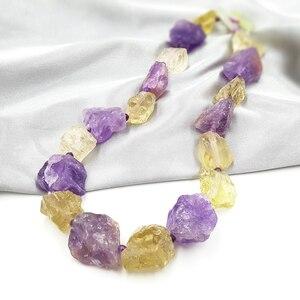 Image 4 - LiiJi, уникальные настоящие аметисты, лимонные кварты, необработанный камень, Jades, застёжка тогл, огромное ожерелье, 50 см/20 дюймов, День матери, хороший подарок ожерелье массивное бусы бижутерия модная
