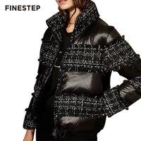 Короткая женская шерстяная куртка в стиле пэчворк, зимнее пальто высокого качества, роскошная зимняя куртка для женщин
