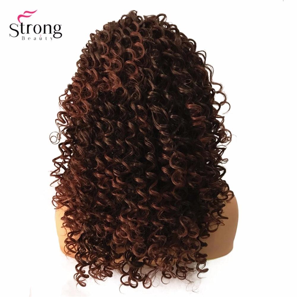 StrongBeauty Lace Front Parykar Brun / Svart Lång Sassy Curly Hair - Syntetiskt hår - Foto 2