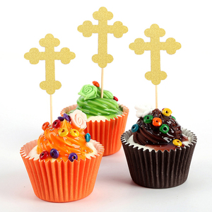 Image 5 - 24pcs Cross And Angel Shaped Cake Topper Paper Cake Picks Cupcake Toppers Decorations Topper Decor Baby Shower Party Supplies