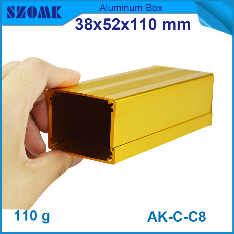 1 piece free shipping golden color aluminum project box szomk 38(H)x52(W)x110(L)mm aluminum project box enclosure case 1 piece free shipping new arrival aluminum enclosure project box extruded aluminum housing for electronics 55 h x160 w x219 l mm