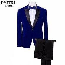 PYJTRL מותג Mens קלאסי 3 חתיכות סט קטיפה חליפות אופנתי בורגונדי רויאל כחול שחור חתונה חתן Slim Fit טוקסידו לנשף תלבושות