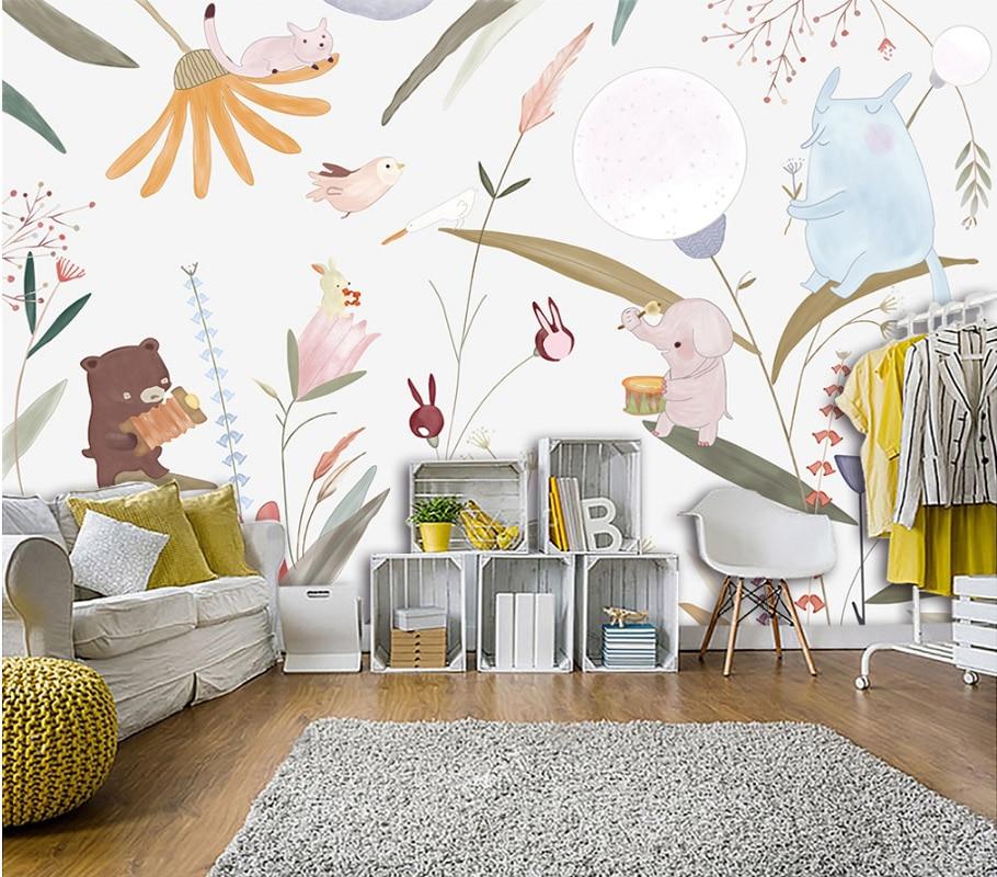 Tuya art cute cartoon animal and flowers art mural for Art deco mural wall