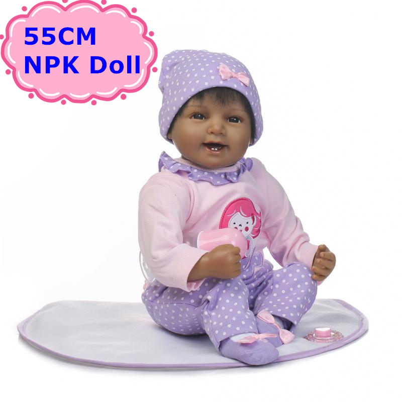55cm NPK New Arrival Black Doll Alive Bebe Reborn Doll+Soft Cotton Body Lovely Newborn Babies Best Playmate For Kids Girls Gift new arrival electric body for stra tocaster in flash black