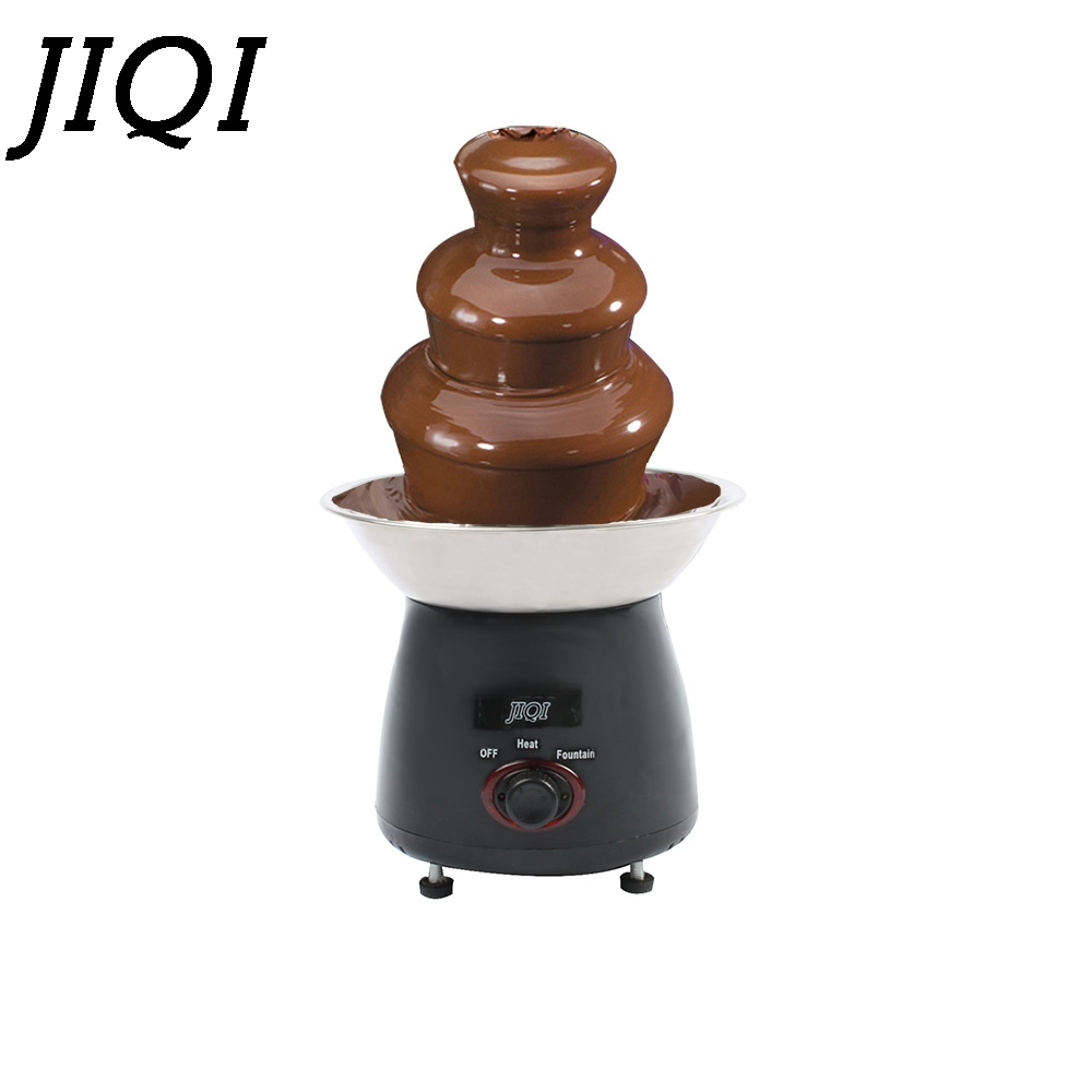 JIQI Mini Chocolate Fountain heating machine 3-Tier Chocolate Fountains Fondue household Choco Waterfall hot pot Wedding EU plug tinton life creative design mini chocolate fountain for sale fondue machine chocolate melts with heating