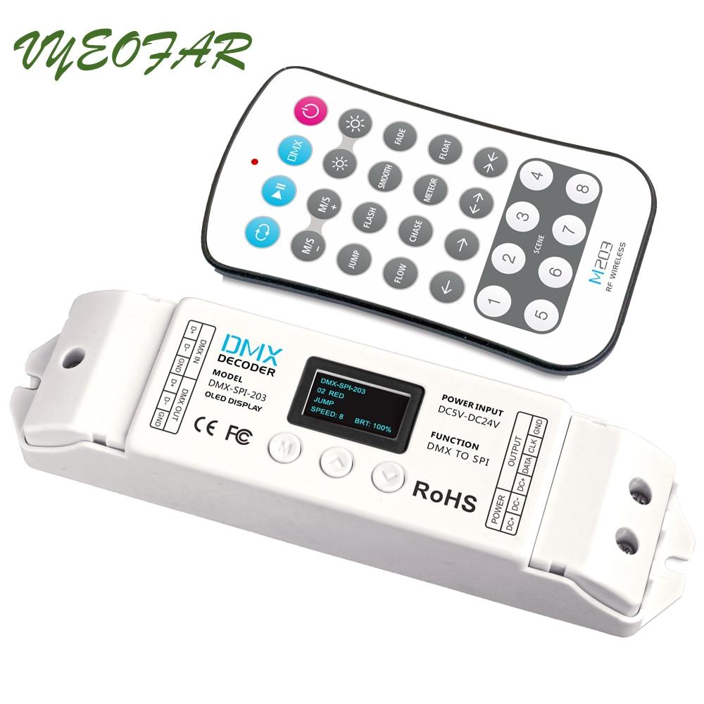 LTECH DMX-SPI-203; décodeur de DMX-SPI avec télécommande; 16 modes; support WS2801/WS2811/WS2812/WS2812B/TM1804/TM1809/INK1003/1903.etc IC