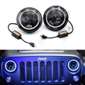 "2pcs/set  7"" Inch 60W LED Headlight Head light lamps H4 - H13 White Full Halo Angel Eyes FOR Jeep Wrangler JK TJ   YC100975"
