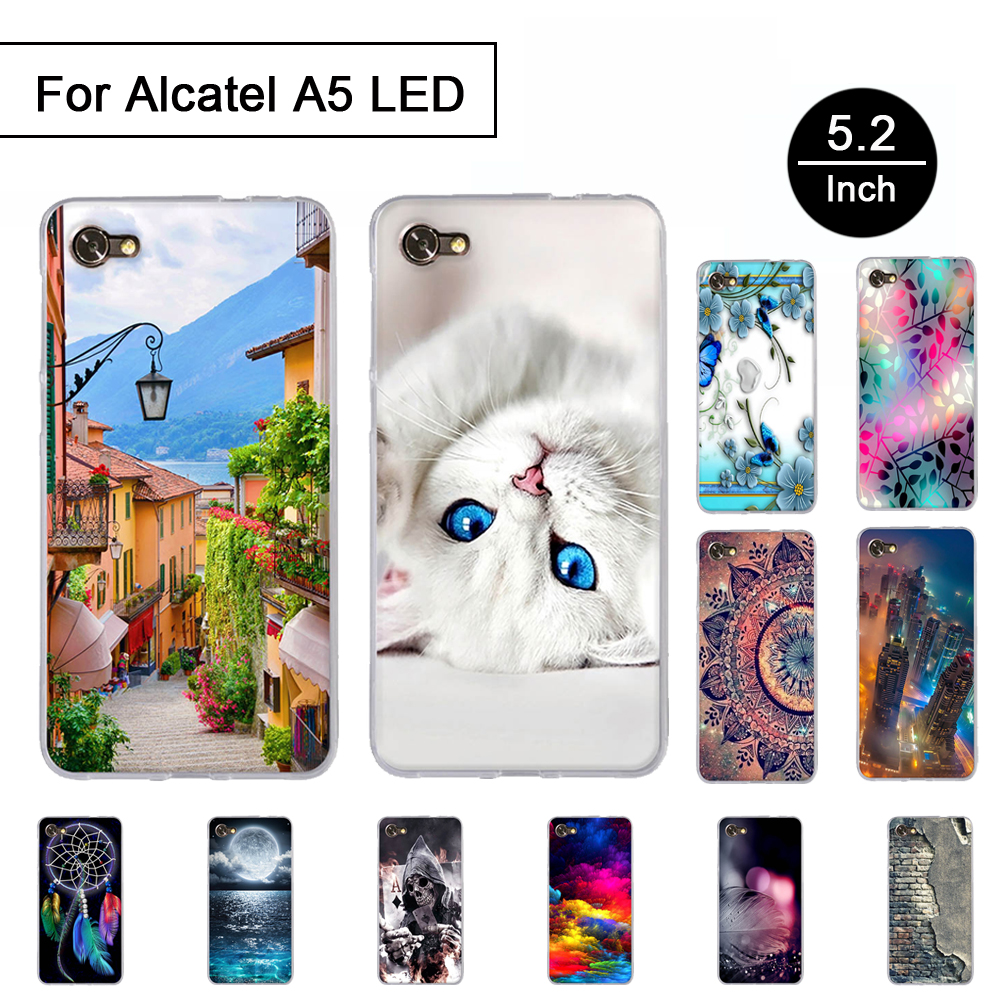 5.2 Back Cover For Alcatel A5 Led 8050d Case 3d Cat Cute Bags Shell For Alcatel A5 Led Phone Cases Soft Silicone Fundas Coque Phone Bags & Cases