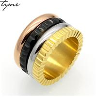2017 New Fashion Titanium Steel Stylish Four Color Rotary Ring For Woman Man Gear Steel Hoop