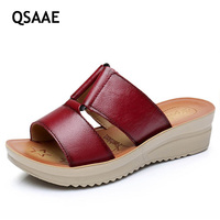 Mother Female Leather Slippers Cool Summer Thick Soles Slippers Comfortable Wedges Women Sandals With Antiskid Soft