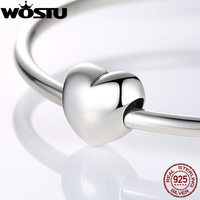 Authentic 925 Sterling Silver Heart Charm Beads Fit Original Pandora Bracelet Pendants DIY Accessories Big Smooth