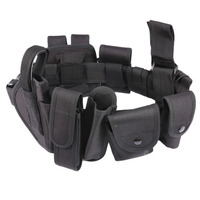 10pcs Set Multifunctional Tactical Waist Belt Tactical Thick Security Guard Waist Strap Waistband Black In Stock