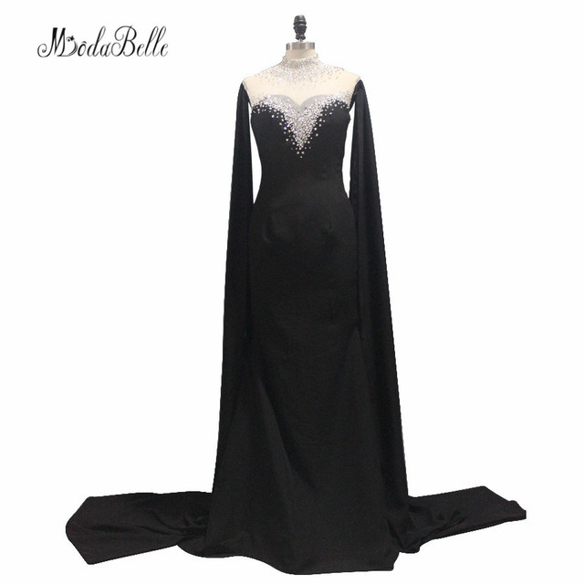 Fantastic 2017 Long Beaded Black Evening Dresses Transparent Sexy Backless  Latest Evening Gown Designs Dubai Arabic Party Dress 8b68f0ec7472