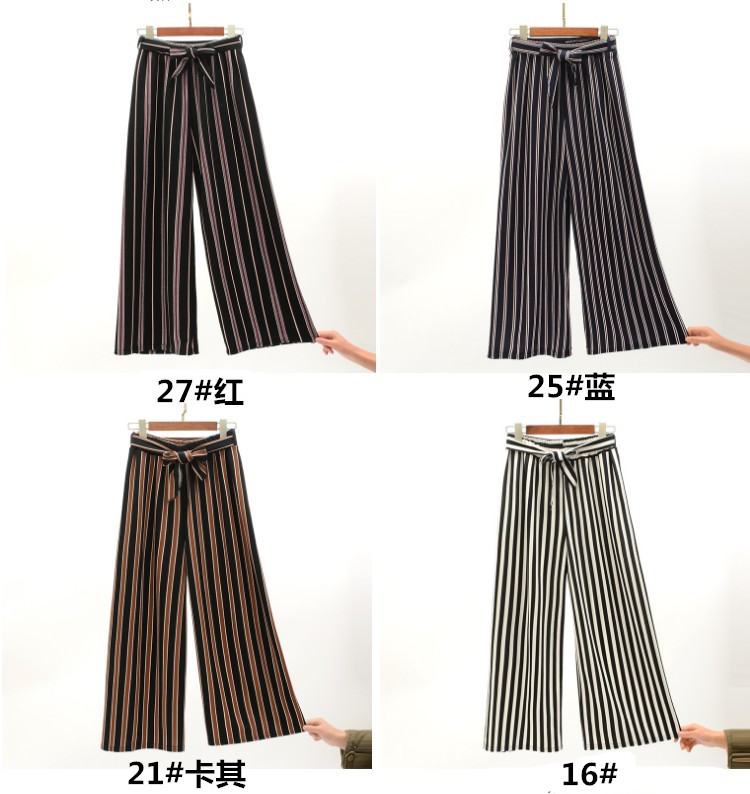 2019 Women Pants Summer New Striped High Waist Loose Pants Striped Straight Nine Pants Women 10