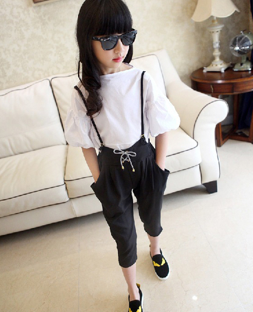 Teenage Girls' Clothing Set Summer Autumn 2017 New Kid Girls White Blouse Top & Black Harem Pants Sets 2 pcs Jumpsuits Spring
