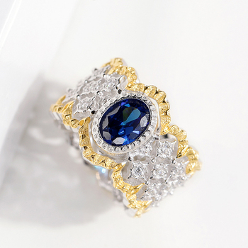 CMajor S925 Silver Jewelry Vintage Palace Hollow Flower Gold Color Fence Sides Blue Oval Stone All-match Rings For Women