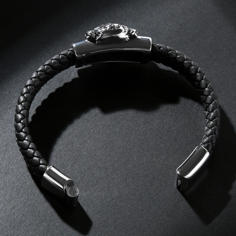 MOZO FASHION 2018 Punk Men Bracelet Black Leather Skeleton Stainless Steel Demons Bracelet Man Animal beast Skull Jewelry PS2120