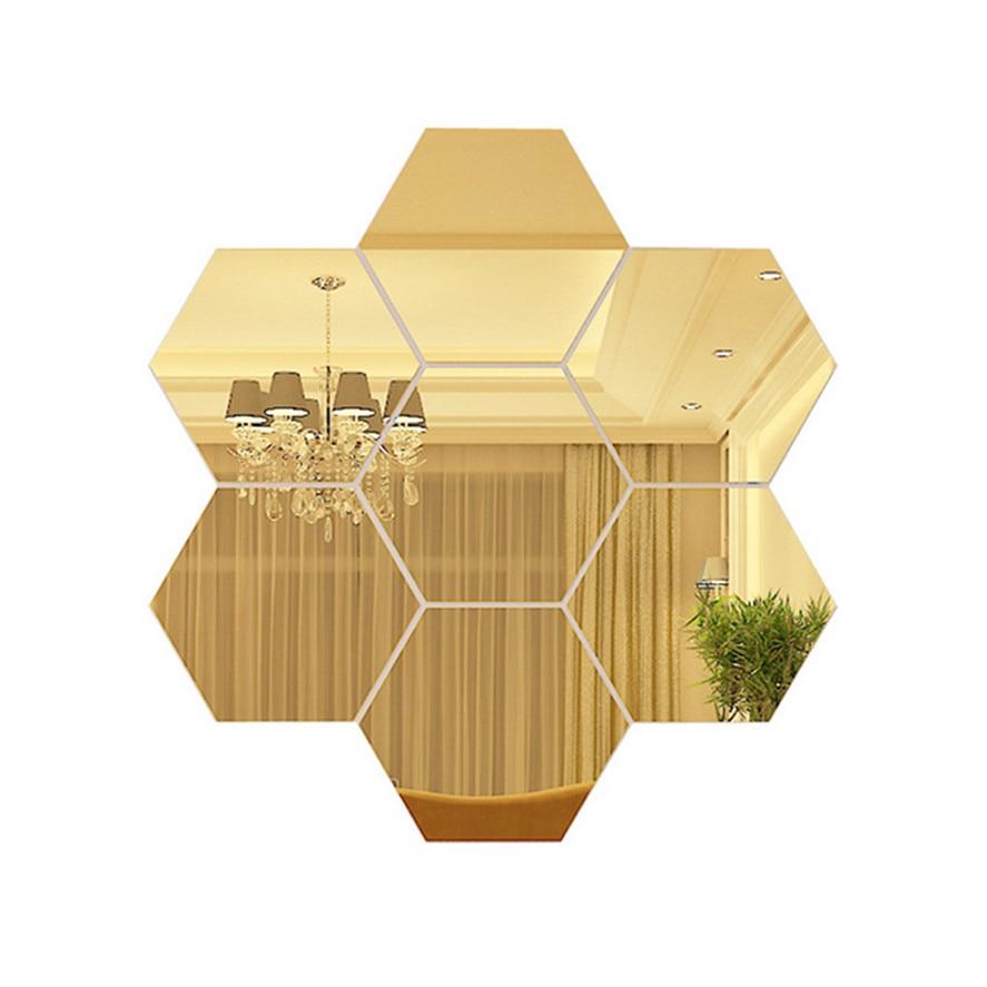 Gold Mirror Wall Sticker 7Pc 3D Mirror Hexagon Vinyl ...