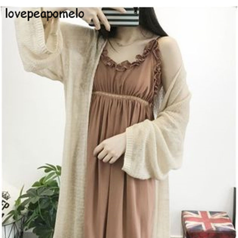 Spring And Autumn Sweater Women's Large Size Casual Hollow-out Knittedsweater Korean Summer Ladies Loose Long Cardigans J249-1