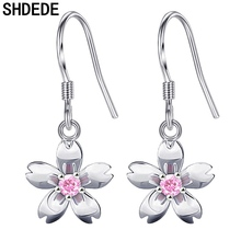 SHDEDE Flower Drop Earrings For Women Cubic Zircon Fashion Wedding Jewelry Gifts White Pink CZ Crystal Hanging Eardrop *+WHE200 shdede white 10